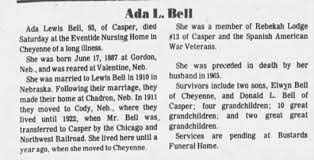 Obituary for Ada Lewis Bell (Aged 93) - Newspapers.com