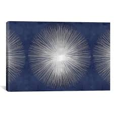"iCanvas ""Silver Sunburst On Blue III"" by Abby Young Canvas Wall ..."