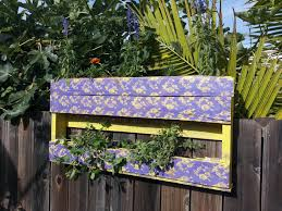 My 2 Shelf Hanging Pallet Garden Made To Hook Over My Fence And Used Grandmas Lace As A Stencil Has Mint Fence Decor Hanging Planter Boxes Hanging Planters