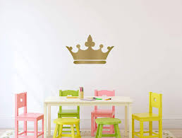 Princess Crown Wall Decal 25in X 15in Metallic Gold Vinyl Decorative Sticker For Woman S Or Girl S Room Kids Royalty Theme Playroom Or Baby Nursery Decor Customvinyldecor Com
