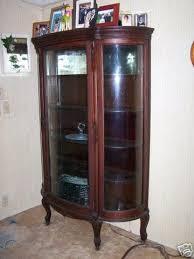antique curio cabinet oak curved