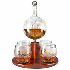 wine savant etched world globe decanter