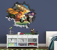 Hot Wheels F1 Skulls Smashed Wall Decal 3d Sticker Decor Vinyl Car Movie Op70