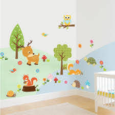Lovely Little Jungle Animals Wall Stickers Kids Room Decor 1223 Home Decals Owls Tree Printing Mural Art Cartoon Zoo Poster 5 0 Stickers Sample Poster Designstickers Forever Aliexpress