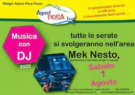 Sabato 1 Agosto 2020 – Musica con DJ – Rifugio Posa Puner
