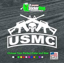 Punisher Skull Usmc Marines Crossed Ar Military Window Decal Stickers Custom Sticker Shop