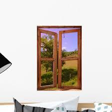 Landscape Seen Through Window Wall Decal Wallmonkeys Com