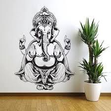 Amazon Com Vinyl Sticker Art Decor Wall Decal Ganesh Buddha Elephant Om Yoga Hindu Mandala Kitchen Dining