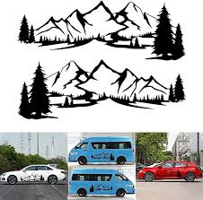 Amazon Com Vicica 1pair 2pcs Car Sticker Reflective Mountain Decal Tree Forest Vinyl Graphic Decals Kit For Camper Rv Trailer Door Panel Decal Bumper Stickers For Car Side Sticker Garden Outdoor
