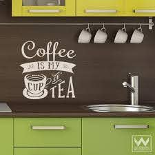My Cup Of Tea Coffee Wall Graphic Saying Vinyl Decal For Kitchen Decor Wallternatives