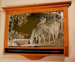 mirror etched decal deer here