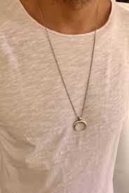 mens necklace silver horn pendant