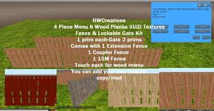 Second Life Marketplace 4 Piece Menu 6 Wood Planks Uuid Texture Fence Gate Kit Boxed