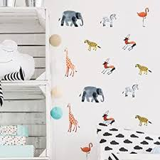 Animal Wall Sticker 36pcs Wild Rainforest Jungle Wall Decor For Kids Girls Boys Baby Teens Bedroom Amazon Com