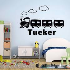 Personalized Name Catoon Train Wall Sticker Vinyl Home Decor Nursery Kids Boys Room Decals Custom Name Removable Murals Nr45 Wall Stickers Aliexpress