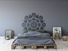 Ananda Mandala Wall Stencil Painted Manadalas Wall Decal Or Wall Sticker Decorative Wall Art Stencils Boho Bohemian Bedroom Medallion Mural X Large 24 X 45 Half Repeat Amazon Com