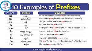 10 exles of prefi english study