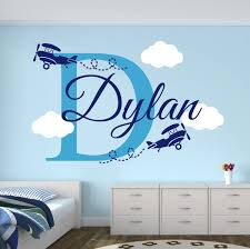 Amazon Com Personalized Name Airplanes Wall Decal Boy Name Wall Decal Kids Room Decor Clouds Wall Decal Nursery Decor 40wx20h Baby