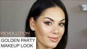 makeup revolution gold party makeup