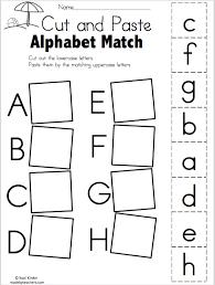 summer alphabet match cut and paste