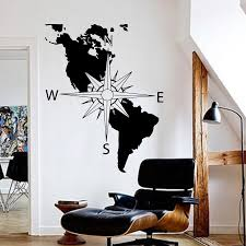 America Continent Map Wall Decal Navigation Compass Decal America Usa Map Compass Wall Decal Sticker Bedroom Vinyl Decor N204 Wall Stickers Aliexpress