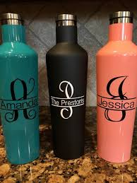 Split Letter Monogram Personalized Name Decal Corkcicle Etsy Water Bottle Decals Vinyls Water Bottle Decal Monogram Water Bottle