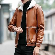 winter warm mens leather jacket