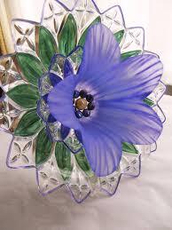 garden art glass plate flower sun