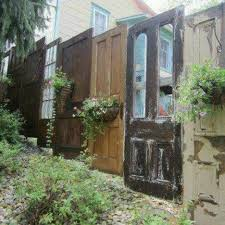 New Looks For Old Salvaged Doors More Repurposed Door Ideas Fence Design Backyard Fences Outdoor