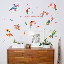 Mega Deal 4ee2 Romantic Birds Flower Wall Stickers Art Pvc Vinyl Wallpaper Kids Room Decoration Lovley Animals Home Decor For Bedroom Removable Cicig Co