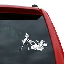 Regular Show Mordecai And Rigby Vinyl Decal Color White 6 X 3 8 Ebay