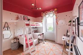 Beautiful Black And Pink Bedroom Ideas Kids Contemporary With Fairy Lights White Walls Contemporary Orange Rug Wall Polka Dots Room Decoration Kids Room Decor