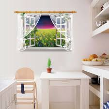Sea Of Sunflowers 3d Effect Wall Sticker For Living Room Lace Curtain Window Bedroom Removable Decal 3d Wall Stickers Sea Wall Sticker Seastickers Sea Aliexpress