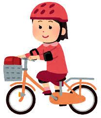 プロテクターをつけて自転車に乗る子供のイラスト(女の子 ...