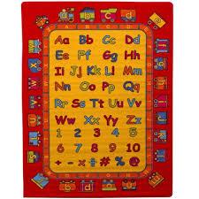Abc Fun Kids Area Rug 5 X 7 Children Red Carpet Playroom Nursery Non Skid Gel Backing 59 X 82 Walmart Com Walmart Com