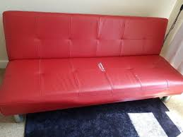 red leather sofa futon faux couch ikea