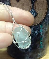 sea glass pendant silver braided twine
