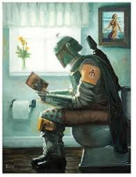 Amazon Com Dropping A Bounty By Bucket Star Wars Boba Fett Parody 12 Inches X 9 Inches Reproduction Gallery Wrapped Canvas Bathroom Wall Art Posters Prints