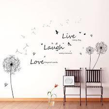 Shop Walplus Wall Sticker Decal Black Dandelion Vivid Live Laugh Love Quote Overstock 32007165