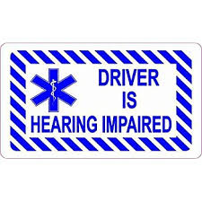Amazon Com Stickertalk Driver Is Hearing Impaired Vinyl Sticker 3 5 Inches By 2 Inches Office Products