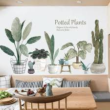 Plant Wall Sticker Wall Decal Plants Wall Decalsucculent Etsy