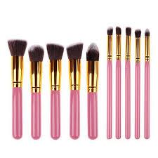 makeup brushes pink 10 piece set