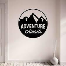 Adventure Awaits Wall Decal Mountains Inspirational Vinyl Wall Art Sticker Decor Ebay