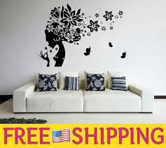 Woman Silhouette Hair Salon Wall Decal With Flowers And Etsy Wall Decals Salon Decals Wall Vinyl Decor