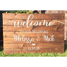 Wedding Welcome Sign Stickers Vinyl Decal For Engagement Celebration Custom Names Date Wall Decals Removable Decoration G39 Bemmengurun