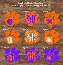 Clemson Tigers Inspired Monogram Sticker By Givemeprettyplease Monogram Stickers Monogram Decal Monogram
