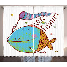 Fishing Decor Curtains 2 Panels Set Kids Cute Large Fat Fish Holding A Flag With Love