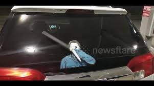 Newsflare Knife Waving Serial Killer Wipertag Decal Accessory On A Rear Wiper