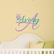 Amazon Com Custom Name Owl Nursery Wall Decal Boys Girls Personalized Name Owl Wall Sticker Custom Name Sign Custom Name Stencil Monogram Baby Nursery Room Wall Decor Handmade