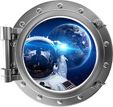 Amazon Com 24 Portscape 3d Space Ship Window View Astronaut Selfie 2 Porthole Wall Decal Removable Wall Sticker Mural Nasa Boys Bedroom Playroom Decor Home Kitchen
